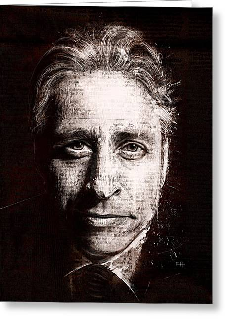 Stewart Greeting Cards - Jon Stewart Greeting Card by Fay Helfer