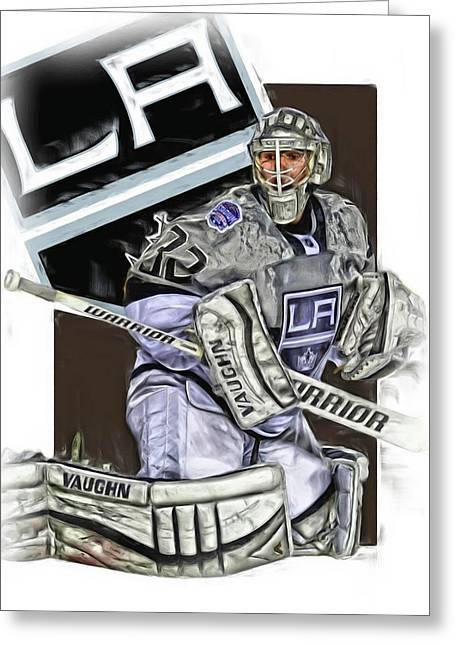 Jonathan Quick Los Angeles Kings Oil Art Greeting Card by Joe Hamilton