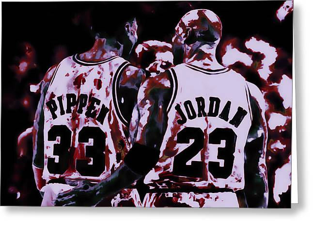 Jordan And Pippen Legacy Greeting Card by Brian Reaves