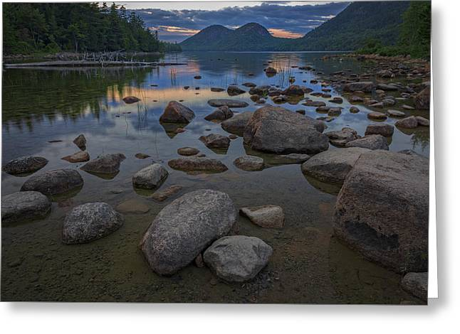 Jordan Pond Afterglow Greeting Card by Rick Berk