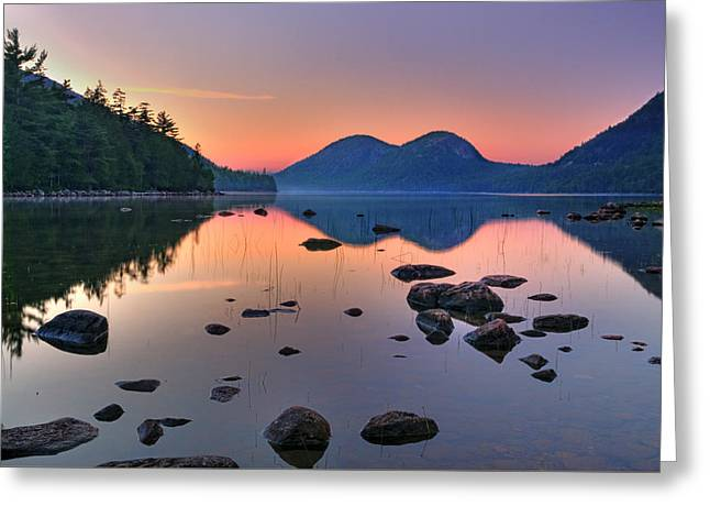 Jordan Pond At Sunset Greeting Card by Expressive Landscapes Fine Art Photography by Thom