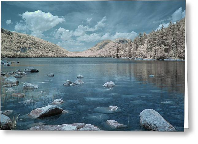 Jordan Pond Blue Greeting Card
