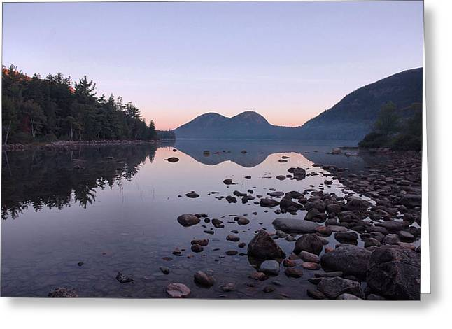 Jordan Pond Reflections - Acadia Greeting Card by Stephen  Vecchiotti