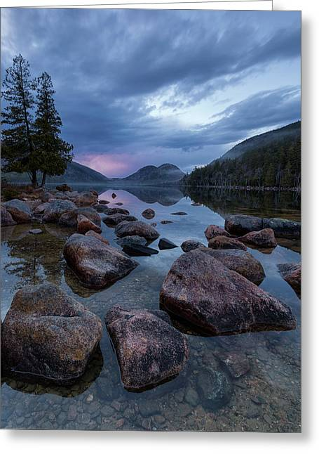 Greeting Card featuring the photograph Jordan Pond Sunset  by Patrick Downey