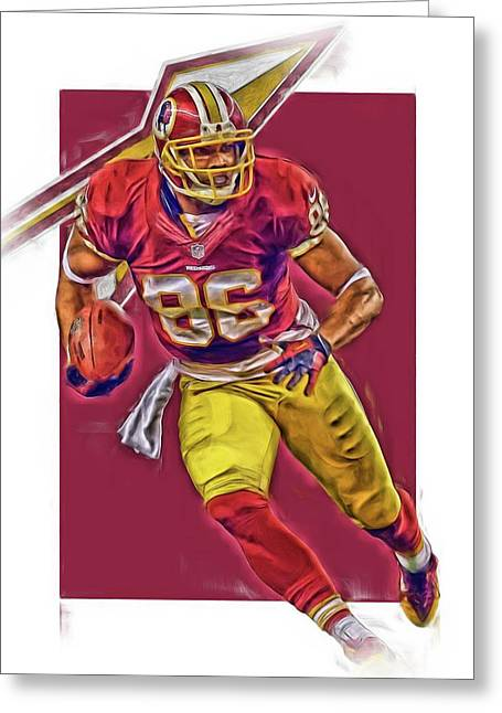 Jordan Reed Washington Redskins Oil Art Greeting Card