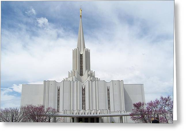 Jordan River Temple Greeting Card by Mark Cheney