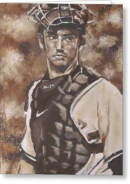 Jorge Posada New York Yankees Greeting Card by Eric Dee