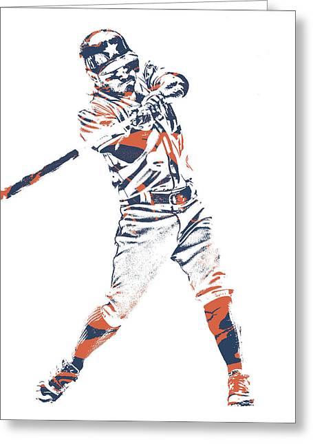 Jose Altuve Houston Astros Pixel Art 21 Greeting Card