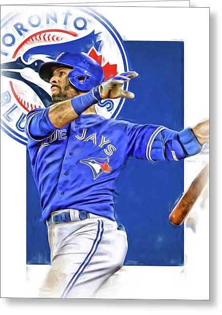 Jose Bautista Toronto Blue Jays Oil Art Greeting Card