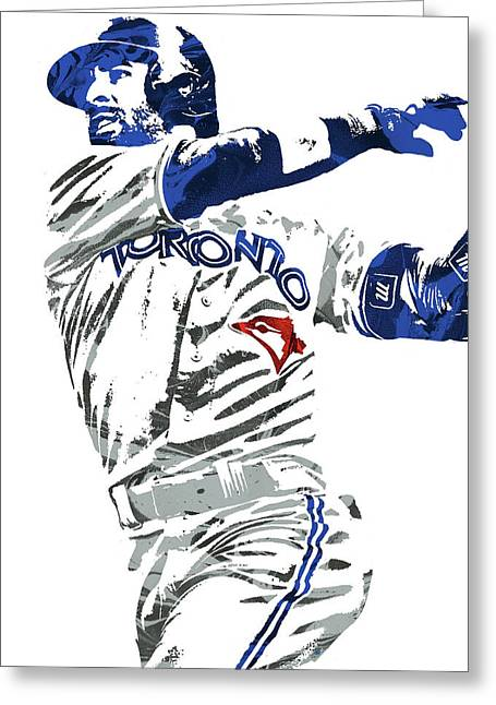 Greeting Card featuring the mixed media Jose Bautista Toronto Blue Jays Pixel Art 2 by Joe Hamilton