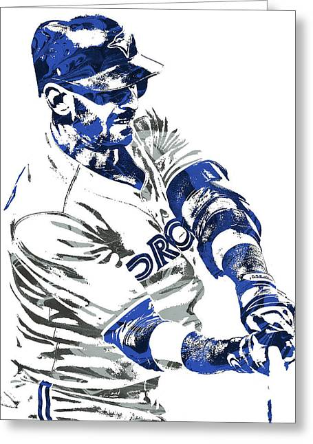 Jose Bautista Toronto Blue Jays Pixel Art Greeting Card by Joe Hamilton