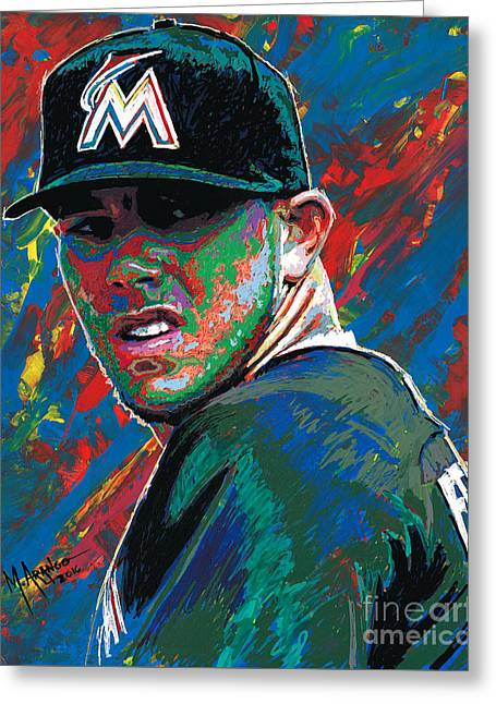 Jose Fernandez Greeting Card by Maria Arango