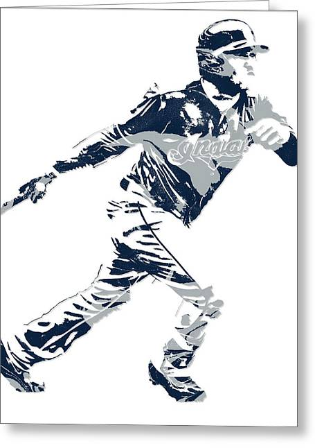 Jose Ramirez Cleveland Indians Pixel Art 2 Greeting Card