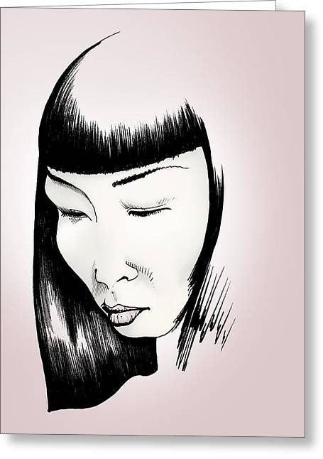 Greeting Card featuring the drawing Josei by Keith A Link