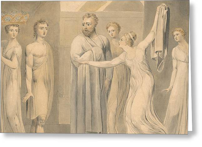 Joseph And Potiphar's Wife Greeting Card by William Blake