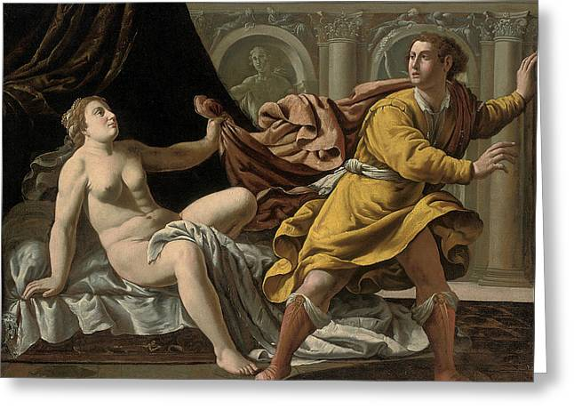 Joseph And Potiphar's Wife Greeting Card by Workshop of Marco Antonio Bassetti