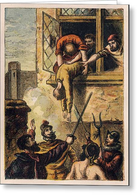 Joseph Martin Kronheim - Foxe Book Of Martyrs Plate II - Death Of Admiral De Coligny Greeting Card by Celestial Images