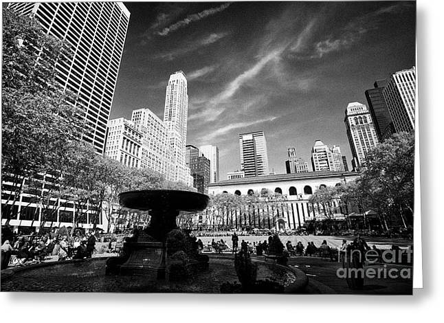 Josephine Shaw Lowell Memorial Fountain In Bryant Park New York City Usa Greeting Card