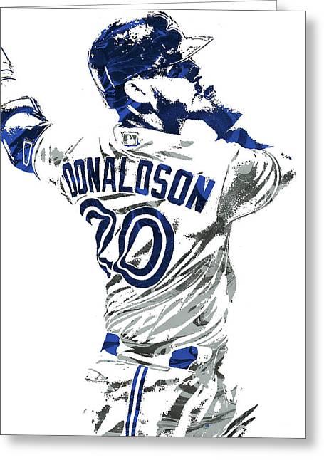 Greeting Card featuring the mixed media Josh Donaldson Toronto Blue Jays Pixel Art by Joe Hamilton