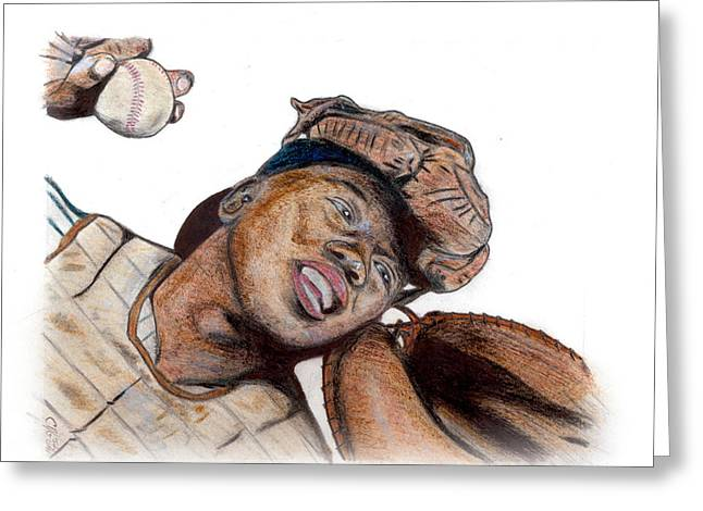 Josh Gibson Greeting Card by Chris Grimm