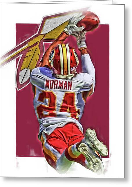 Josh Norman Washington Redskins Oil Art Greeting Card by Joe Hamilton