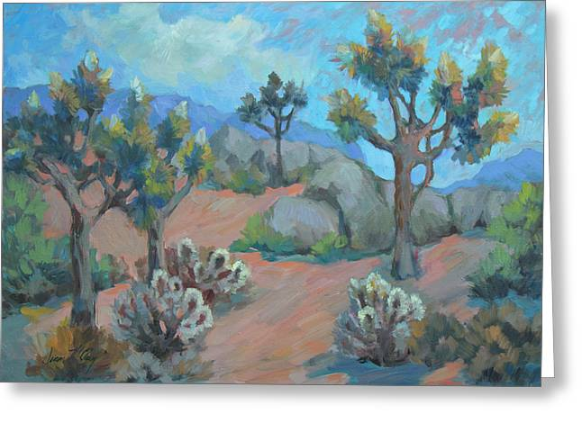 Joshua Trees And Cholla Cactus Greeting Card by Diane McClary