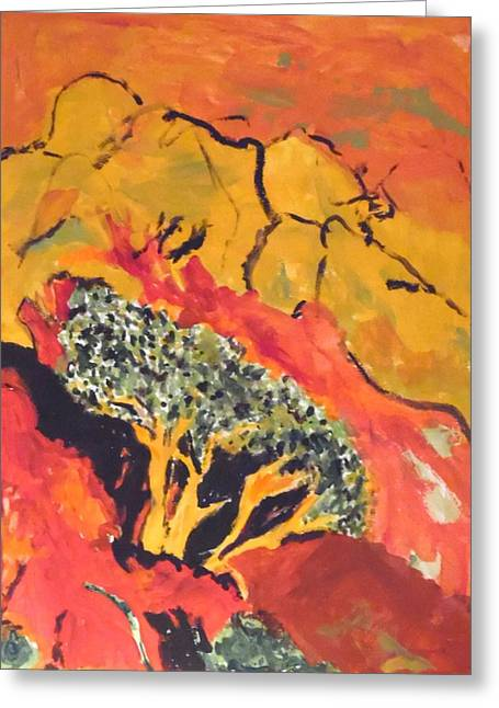 Greeting Card featuring the painting Joshua Trees In The Negev by Esther Newman-Cohen
