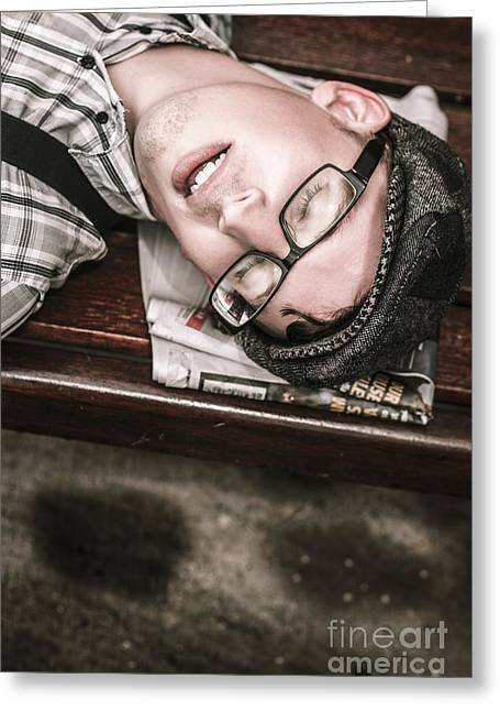 Journalist Asleep On The Job Greeting Card by Jorgo Photography - Wall Art Gallery
