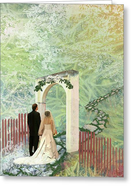 Family Walks Mixed Media Greeting Cards - Journey of Marriage Greeting Card by Arlissa Vaughn