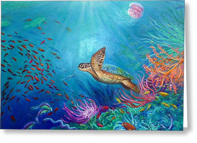 Journey Of The Greenback Turtle Greeting Card by Janet Silkoff