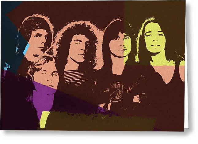 Journey Rock Band Pop Art Greeting Card by Dan Sproul