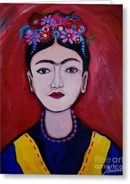 Joven Frida Kahlo Greeting Card by Pristine Cartera Turkus