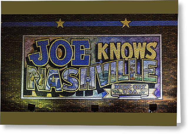 Joe Knows Nashville Greeting Card by Stephen Stookey