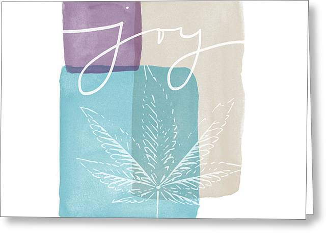 Joy Cannabis Leaf Watercolor- Art By Linda Woods Greeting Card by Linda Woods