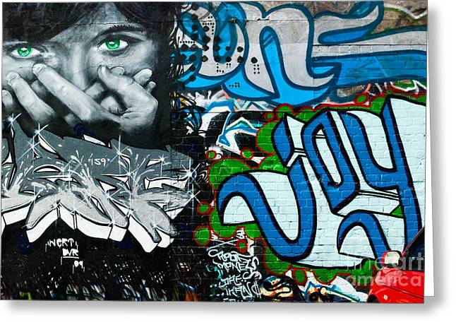 Greeting Card featuring the painting Joy Graffiti Wall  by Yurix Sardinelly