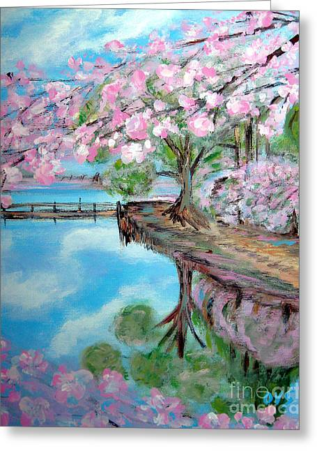 Joy Of Spring. Acrylic Painting For Sale Greeting Card