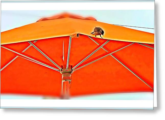 Greeting Card featuring the digital art Joy On An Umbrella by Mindy Newman
