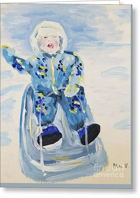 Greeting Card featuring the painting Joy Ride by Maria Langgle