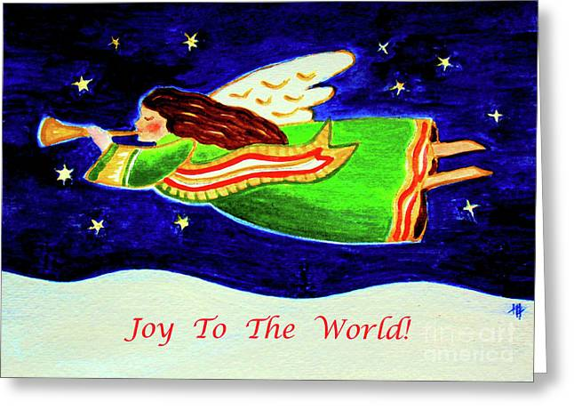 Joy To The World - Verse Greeting Card by Hazel Holland