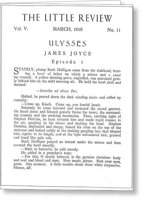 Joyce: Ulysses, 1918 Greeting Card by Granger
