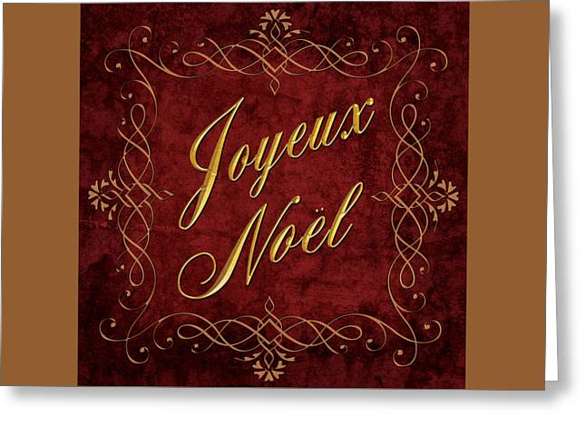 Greeting Card featuring the digital art Joyeux Noel In Red And Gold by Caitlyn  Grasso