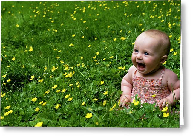 Joyful Baby In Flowers Greeting Card