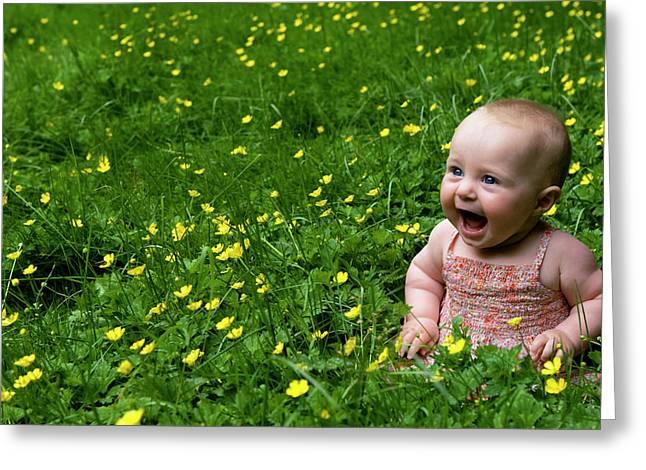 Joyful Baby In Flowers Greeting Card