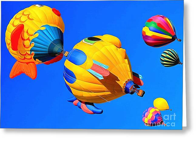 Joyful Flight Greeting Card by Krissy Katsimbras