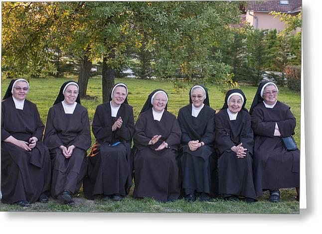 Joyful Nuns Greeting Card by Don Wolf