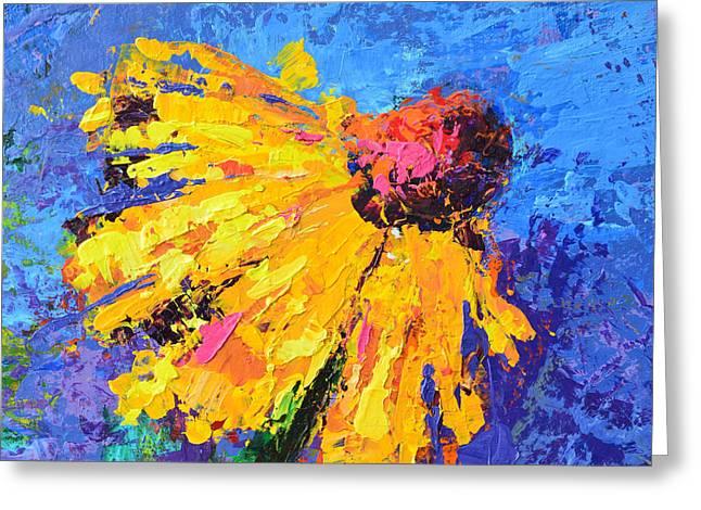 Joyful Reminder Modern Impressionist Floral Still Life Palette Knife Work Greeting Card by Patricia Awapara