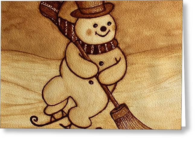 Greeting Card featuring the painting Joyful Snowman  Coffee Paintings by Georgeta  Blanaru