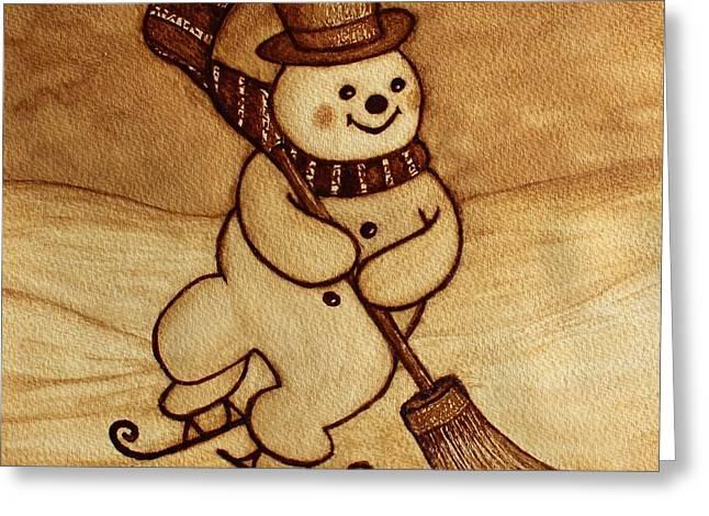 Joyful Snowman  Coffee Paintings Greeting Card