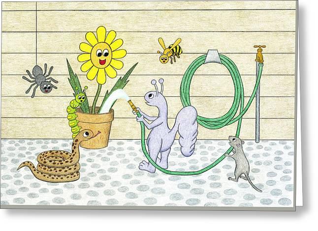 Joyful Watering Greeting Card by Kathy Pullen