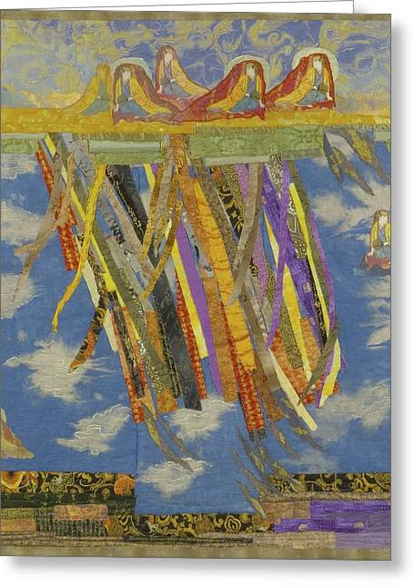 Tibetan Tapestries - Textiles Greeting Cards - Joyfull Joyfull Greeting Card by Roberta Baker